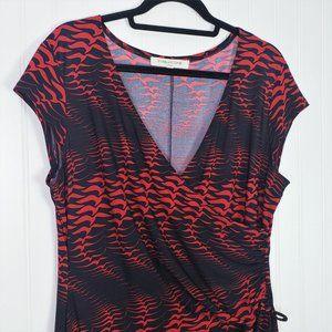 Beautiful Evan Picone Red & Black Bird Print Dress